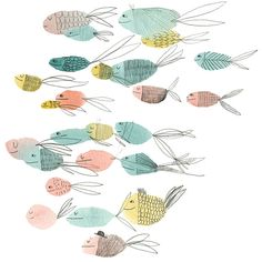 "Fishes by marionbarraud on Etsy  (Great visual for beginning of year ""In this school, we swim together"" bulletin board)."