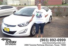 https://flic.kr/p/HLZiVY | Happy Anniversary to Ksthryn on your #Hyundai #Elantra from Jane Smallwood at Texoma Hyundai! | deliverymaxx.com/DealerReviews.aspx?DealerCode=L967