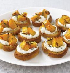 Roast Pumpkin and Ricotta Crostini