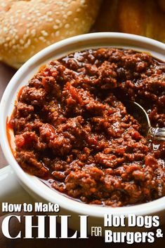 This Chili Recipe for Hot Dogs and Hamburgers is simple, quick, and loaded with flavor! The perfect chili for topping things. Chilli Recipes, Dog Recipes, Cooking Recipes, Sandwich Recipes, Recipies, Hamburgers, Chutney, Quick Chili Recipe, Hot Dog Chili Recipe No Beans