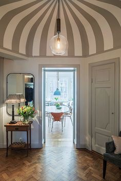 Pic from one of my projects; striped ceiling with paint from #farrowandball #sofinedesign #interiordesign