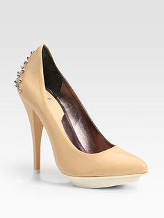 Studded heels in nude color - perfection. #shoes #fashion #pastel