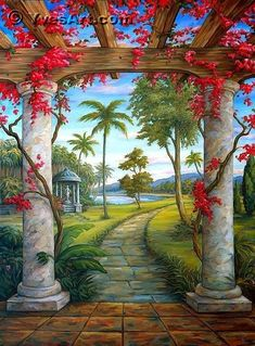 20 Possibilities Bedroom Mural Wallpaper (With Pictures) Beautiful Landscape Wallpaper, Scenery Wallpaper, Beautiful Paintings, Beautiful Landscapes, Beautiful Scenery, Studio Background Images, Light Background Images, Mural Wall Art, Mural Painting