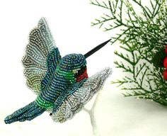 Hummingbird Beaded Clip On Ornament by MeredithDada on Etsy
