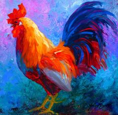 Bright rooster- I used to tell Nathan how much I hate chickens.... he realized I actually love them somehow