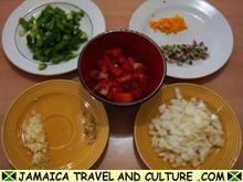 Brown Stew Chicken - Choping the vegetables