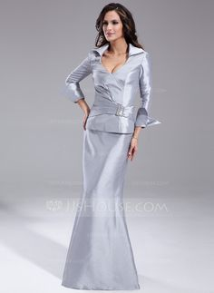 I wish it wasn't so low cut...I love the look of this dress - the sleeves are awesome! Trumpet/Mermaid V-neck Floor-Length Taffeta Mother of the Bride Dress With Ruffle Crystal Brooch (008006581) - JJsHouse