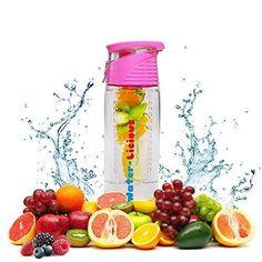 SUMMER SALE! Fruit Infuser Water Bottle BPA Free 24oz Premium TRITAN - Leak Proof Flip Top Lid and Carry Handle - Healthy Way to Detox - Great for Active Men Women Children