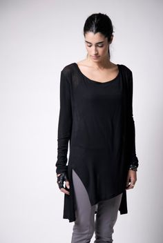 Sheer Long Top / Asymmetrical Oversized Sweater / Casual Tunic / Casual Top / Long Sleeve Blouse / Casual Shirt / marcellamoda - MB101