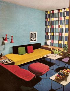 Colorful 1959 apartment - I love the drapes. They have a Mondrian feel.