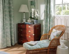 Amanda Lindroth - China Seas Hawthorne curtains and chair Lime Green Curtains, Caribbean Homes, Bedroom Design Inspiration, Tropical Interior, Paint Colors For Living Room, Dresser As Nightstand, Beautiful Interiors, Decor Styles, Bedroom Decor