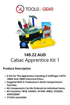 A Kit For The Apprentice Including A Voltfinger CATIV 1000V And 1000V Electrical Pliers Computer Gadgets, Tool Box, Kit, Toolbox