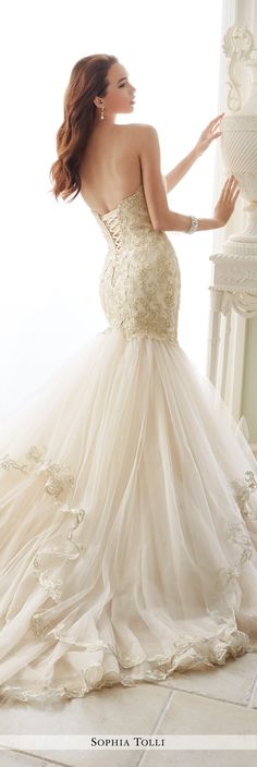 Sophia Tolli Fall 2016 Wedding Gown Collection - Style No. Y21657 Amalfi - strapless lace and tulle trumpet wedding dress