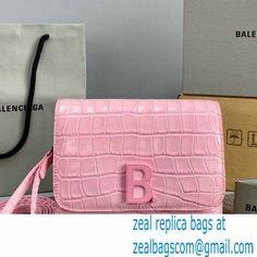 Balenciaga Cowhide Crocodile embossed Flap bag in Pink Bb006 2021 Cambridge Satchel, Luxury Bags, Crocodile, Balenciaga, Pink, Crocodiles, Pink Hair, Roses, Balenciaga Bag
