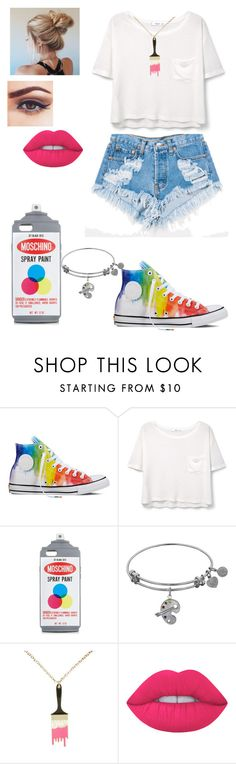 """""""Art"""" by kissesari on Polyvore featuring Levi's, Converse, MANGO, Moschino and Lime Crime"""