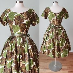 Adorable 1950s Suzy Perette Cotton Hawaiian Style Day Dress / 1950s Cotton Dress / Summer Fall Dress / Medium Vintage Summer Dresses, Fall Dresses, Cotton Dresses, Vintage Outfits, Vintage Fashion, Big Skirts, Dress With Shawl, Resort Dresses, Dress Summer