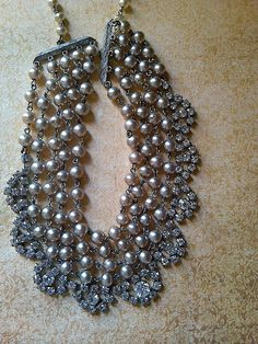 vintage pearl rhinestone necklace by JNPVintageJewelry on Etsy, $135.00