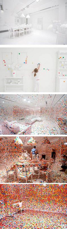 This is art instalation of ; I'v seen it in gallery of (GOMA) YAYOI is just great artist-person. Polka Dot Room, Polka Dot Art, Yayoi Kusama, Happy Design, Ad Art, Interactive Design, Installation Art, Great Artists, Color Inspiration