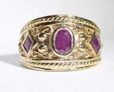 Vintage Ruby and Gold Ring Size 6.75 by LadyLibertyGold on Etsy