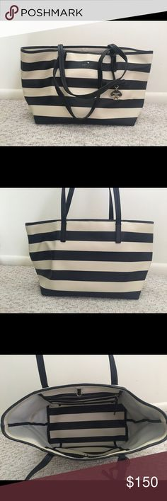 Kate Spade tote Black and white stripped Kate Spade tote. Used for about two weeks, purse is too small for me! Willing to sell thru ️️ and is also listed on Ⓜ️ kate spade Bags Totes