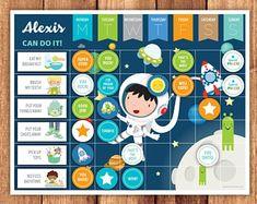 Chore Chart, Reward Chart or Routine Chart + Chores, Behavior & Routine Cards · Astronaut Theme · Printable Files · Tabla de recompensas Routine Chart, Chore Cards, Task Cards, Printable Chore Chart, Printables, Behavior Cards, Babysitting Activities, Mat Paper, Rainbow Theme