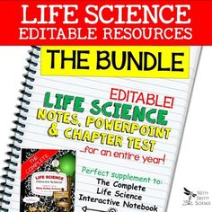 Life Science Curriculum - Editable Resources Notes, PowerPoint, and Chapter Tests Nitty Gritty Science.