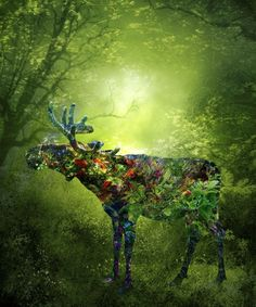 """""""Flower Deer"""" by Srdjan Art. Manipulated photograph on Canvas, Subject: Animals and birds, Illustrative style, From a limited edition of 20, Signed and numbered certificate of authenticity, This artwork is sold unframed, Size: 83 x 100 x 0.2 cm (unframed), 32.68 x 39.37 x 0.08 in (unframed), Materials: canvas"""