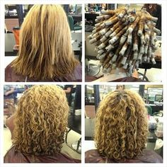 stacked spiral perm on short hair Curly Perm, Wavy Hair, Spiral Perm Short Hair, Spiral Perms, Perm On Medium Hair, Permed Hair Medium Length, Medium Permed Hairstyles, Loose Spiral Perm, Perm Hairstyles