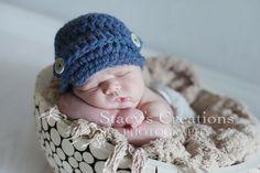 Newsboy Hat Baby Hat Newborn Hat Crochet Baby Hat by Monarchdancer