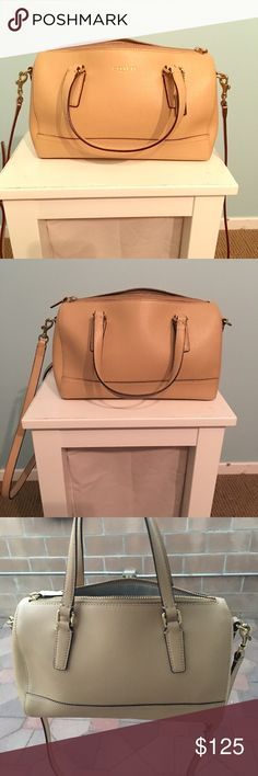 Coach bag with strips, can be cross body bag Bought at Coach Beverly center store. One of my favorite purses. It's great for work. Hardly used. Very practical and beautiful. Coach Bags