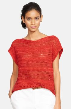 Free shipping and returns on Lauren Ralph Lauren Open Stitch Bateau Neck Sweater (Regular & Petite) at Nordstrom.com. A short-sleeve sweater is knit from shimmering cotton-blend yarns with open-stitch stripes for a bit of peekaboo sheerness.