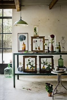 Create interesting vignettes buy placing flowers and potted plants down inside uncovered,  interesting vessels #diyflowers #vignettes