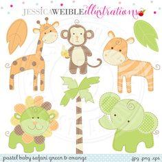 Green & Orange Baby Pastel Safari Cute Digital by JWIllustrations