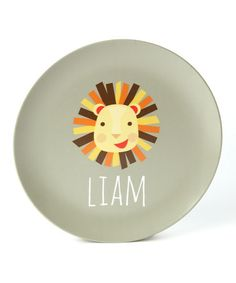Take a look at this Lion Personalized Plate by Lima Bean Kids on #zulily today!