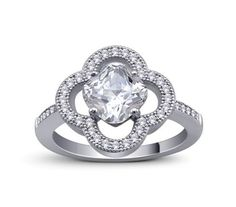 2.5ct Cushion CZ Micro Pave Halo Sterling Silver Engagement Ring Open Clover #SolitairewithAccents