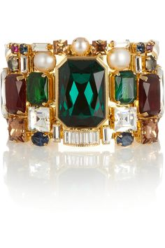 Emilio Pucci | Gold-plated crystal and faux pearl cuff | NET-A-PORTER.COM