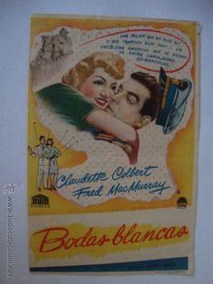 ANTIGUO PROGRAMA MANO BODAS BLANCAS CINE CINEMA IDEAL LA HOYA ELCHE, AÑOS 40/50