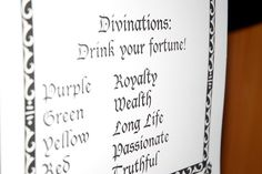 Divinations: Drink your fortune- color chart
