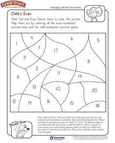 """Odd n' Even"" – 1st Grade Math Worksheet on Odd and Even Numbers #JumpStart"