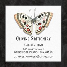 Business Card, Square Business Card, Vintage Butterfly Card, Calling Card, Contact Card by OlivineStationery on Etsy