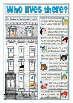 This is a reading activity for beginners. The challenge is guessing who is who in a building reading their descriptions. The second part is to describe three. Grammar And Vocabulary, English Vocabulary, English Grammar, Teaching English, Teaching Spanish, English Games, English Activities, Reading Activities, Reading Worksheets