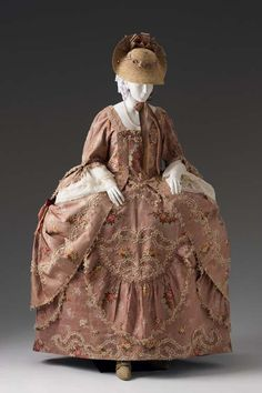 Formal Open Robe with Petticoat  circa 1770-1785    Unknown English Maker    Place object was created: England, Great Britain, Europe    Silk brocade, linen