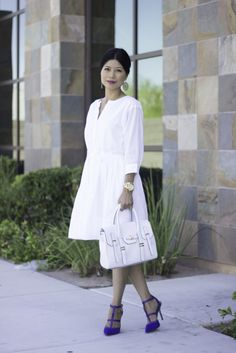 GAP white dress, Rebecca Minkoff Mini Jules, Steve Madden Pumps