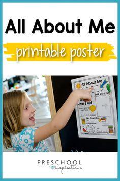 Summer Preschool Themes, Preschool Literacy, Preschool At Home, Preschool Activities, Kindergarten, All About Me Questions, All About Me Printable, All About Me Poster, Preschool Programs