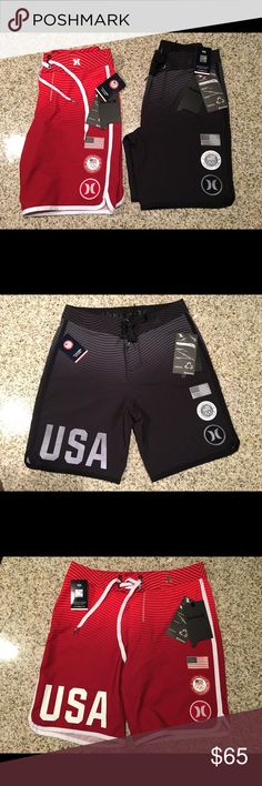 Boys Hurley US 2016 Olympic Team Boardshorts BRAND NEW with tags. Listing is for both the red and black board shorts. They retail for 75 each, you get both for less than retail of only 1!Orders Will be shipped out in 1 day from purchase. If you have any questions or need additional pictures call or text 520-262-1875 Hurley Swim Swim Trunks
