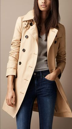 Burberry - MID-LENGTH COTTON ZIP CUFF TRENCH COAT