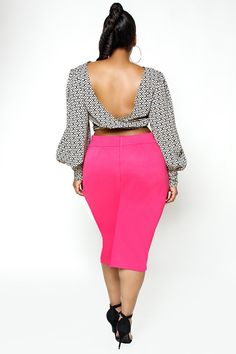 Jibri Plus Size Graphic Crop Blouse and Skirt