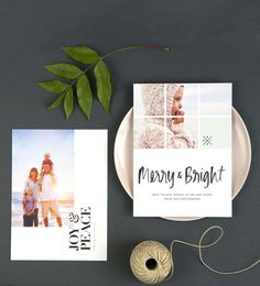 A modern twist on holiday cards. Be bright and cheerful with these eco-friendly photo cards.