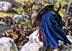"Second Crusade - ""King Louis VII takes refuge on a rock during the Battle of Mount Cadmus, 8 January 1148"", Christa Hook; La Pintura y la Guerra. Sursumkorda in memoriam"
