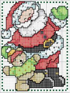 Wording is in a foreign language,  but click the link to get a Santa criss stitch pattern